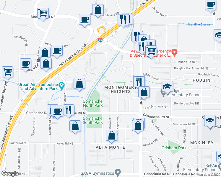 map of restaurants, bars, coffee shops, grocery stores, and more near 3901 Lafayette Drive Northeast in Albuquerque