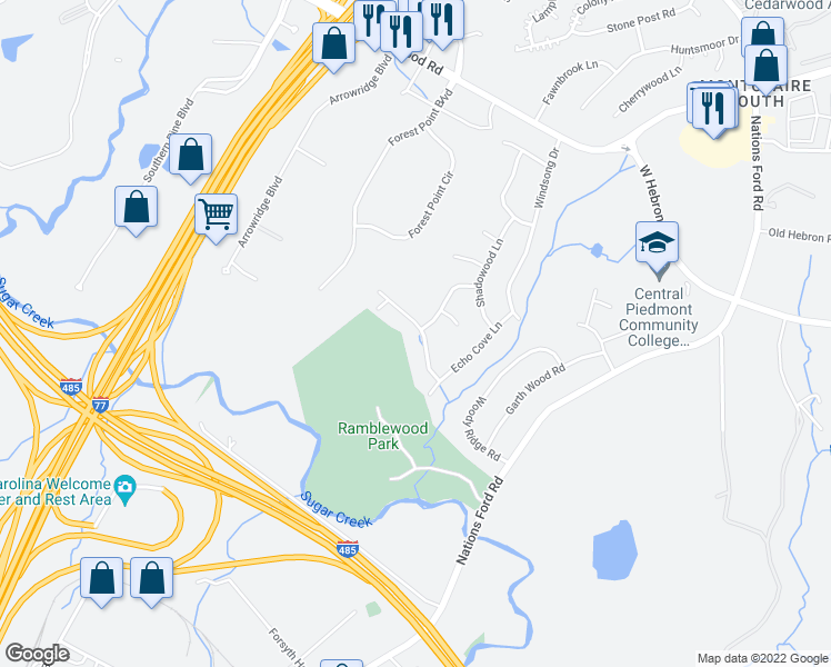 map of restaurants, bars, coffee shops, grocery stores, and more near 801 Peaceful Glen Road in Charlotte