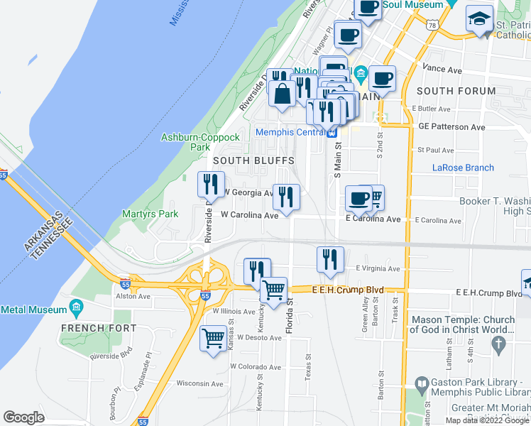 map of restaurants, bars, coffee shops, grocery stores, and more near 70 West Carolina Avenue in Memphis