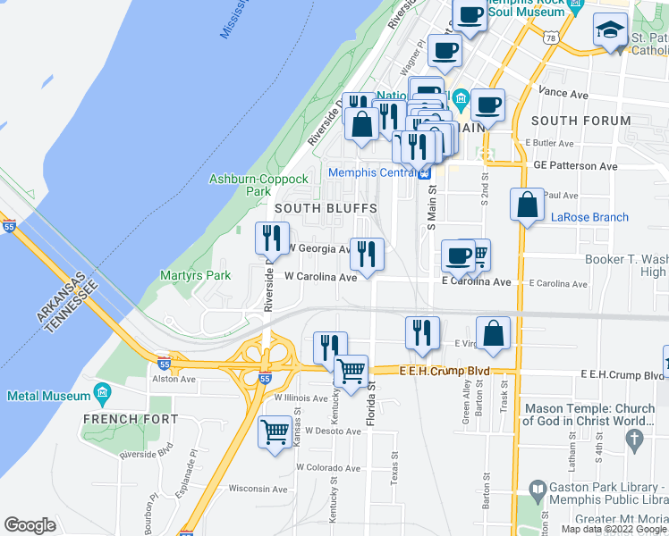 map of restaurants, bars, coffee shops, grocery stores, and more near 75 Shoemaker Court in Memphis