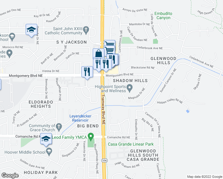 map of restaurants, bars, coffee shops, grocery stores, and more near 4301-4323 Prairie Loft Way Notheast in Albuquerque
