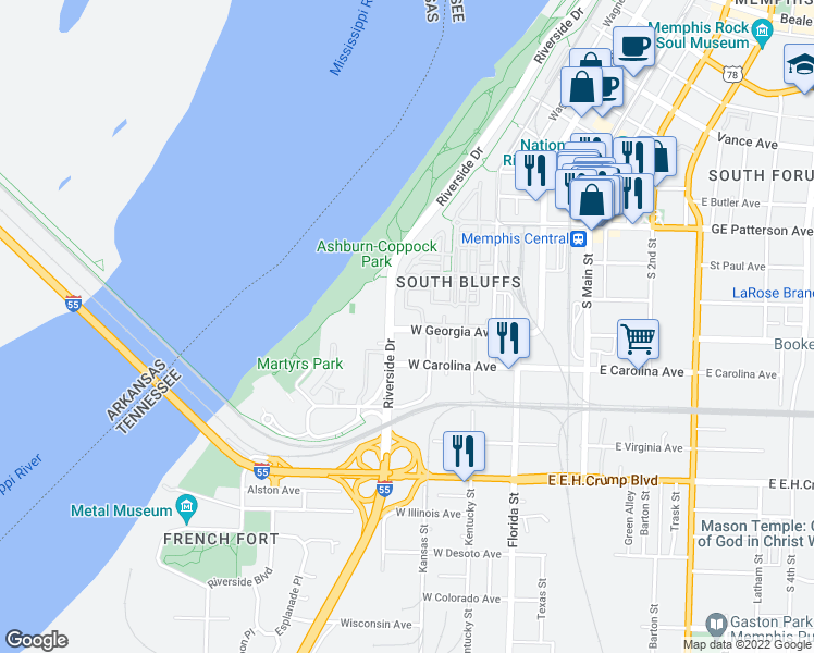 map of restaurants, bars, coffee shops, grocery stores, and more near 648 Riverside Drive in Memphis
