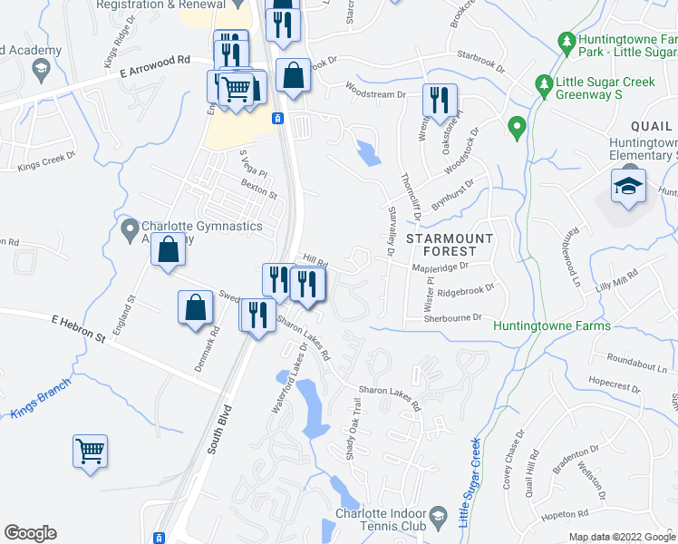 map of restaurants, bars, coffee shops, grocery stores, and more near 1325-1399 Hill Road in Charlotte