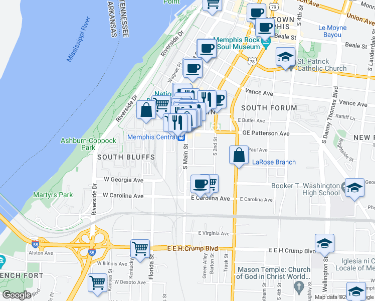 map of restaurants, bars, coffee shops, grocery stores, and more near 580 South Main Street in Memphis