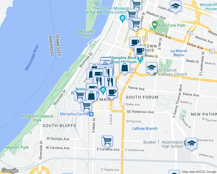 map of restaurants, bars, coffee shops, grocery stores, and more near 376 Mulberry Street in Memphis