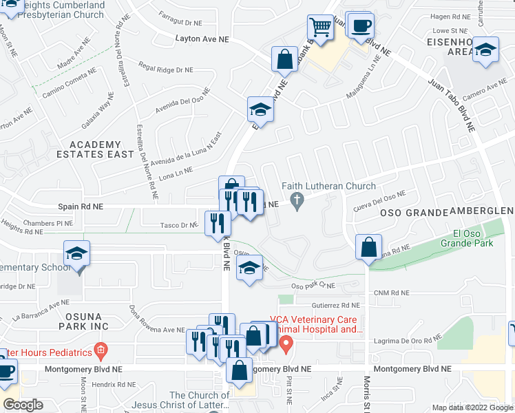 map of restaurants, bars, coffee shops, grocery stores, and more near 9901-9951 Spain Rd NE in Albuquerque