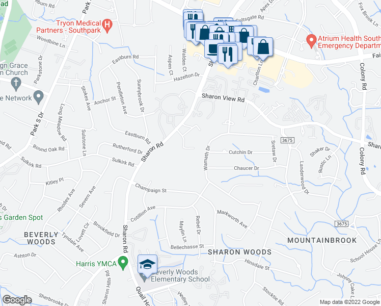 map of restaurants, bars, coffee shops, grocery stores, and more near 5201 Sharon Road in Charlotte