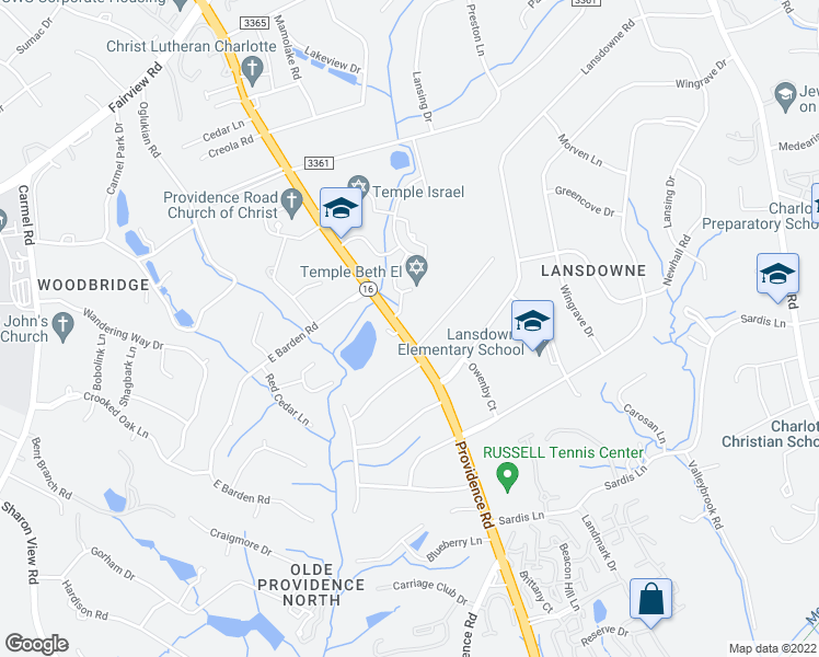 map of restaurants, bars, coffee shops, grocery stores, and more near 5139 Providence Rd in Charlotte