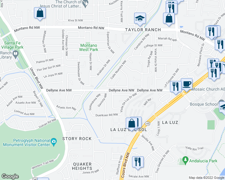 map of restaurants, bars, coffee shops, grocery stores, and more near Dellyne Ave NW & Camino Vista NW in Albuquerque