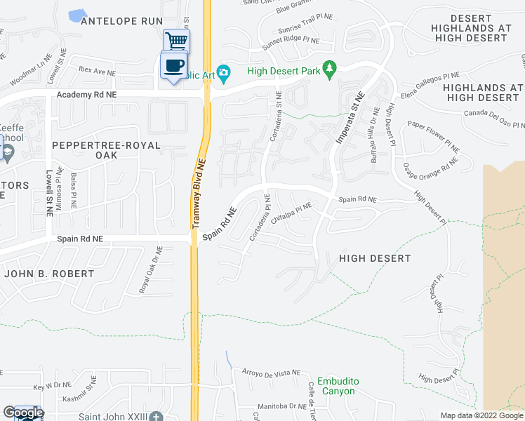 map of restaurants, bars, coffee shops, grocery stores, and more near 5800 Vulcan Vista Drive Northeast in Albuquerque