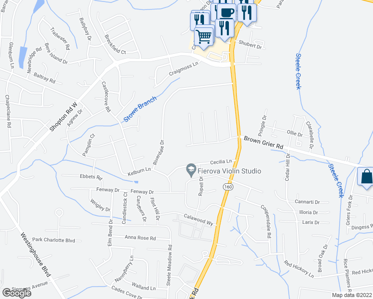 map of restaurants, bars, coffee shops, grocery stores, and more near 10030 Wildwood Muse Ct in Charlotte