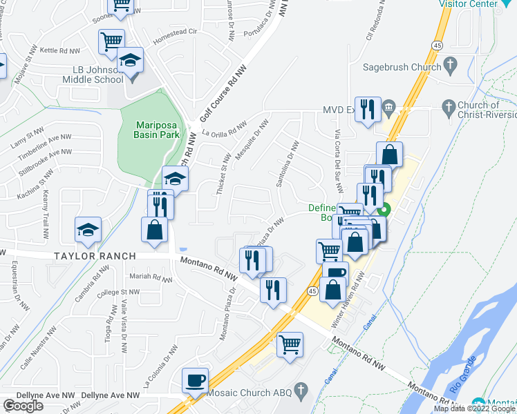 map of restaurants, bars, coffee shops, grocery stores, and more near 4512 Habershaw Rd NW in Albuquerque