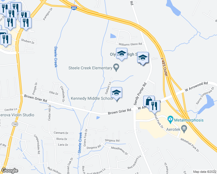 map of restaurants, bars, coffee shops, grocery stores, and more near 4100 Gallant Lane in Charlotte