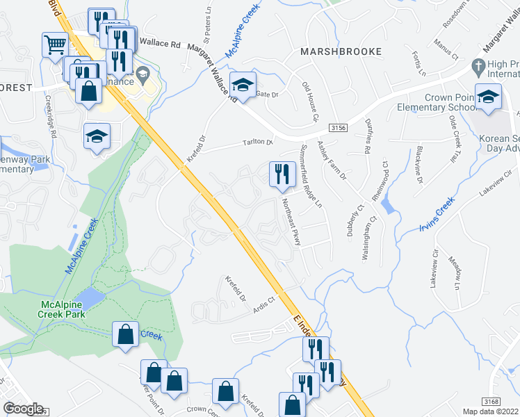 map of restaurants, bars, coffee shops, grocery stores, and more near 2808 Cross Point Circle in Matthews