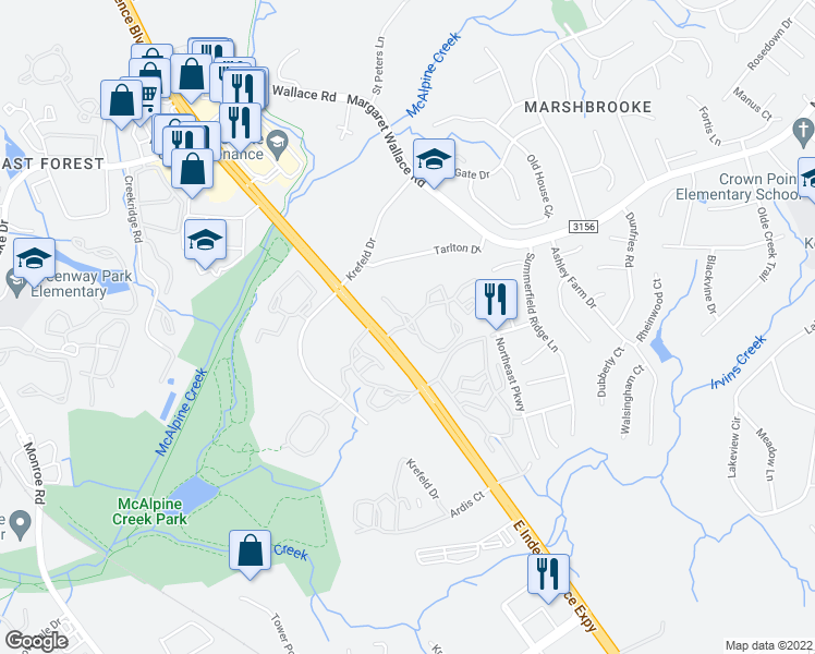 map of restaurants, bars, coffee shops, grocery stores, and more near 7811 Woodway Oak Circle in Matthews