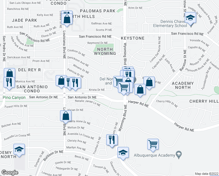 map of restaurants, bars, coffee shops, grocery stores, and more near 7925 Derickson Ave NE in Albuquerque
