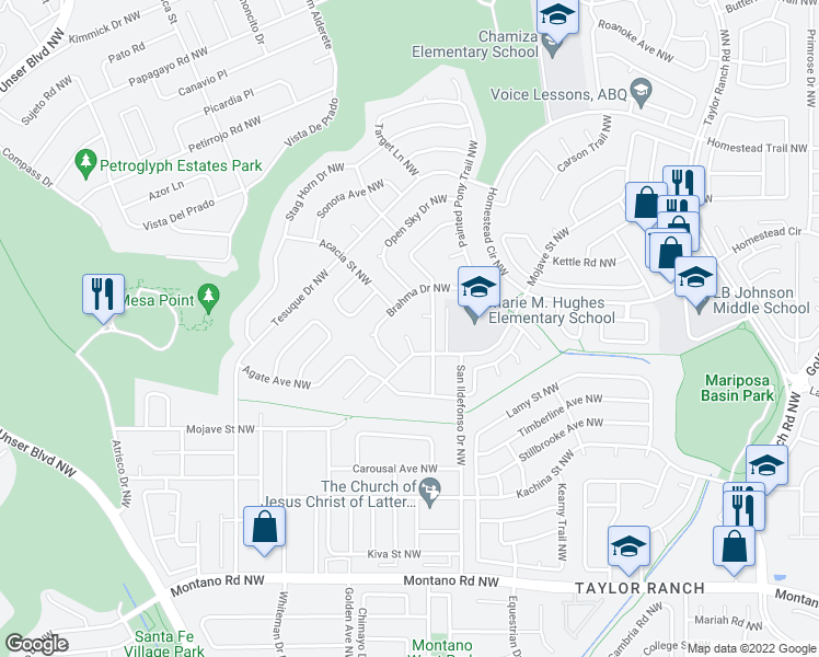 map of restaurants, bars, coffee shops, grocery stores, and more near 6712 High Pl Ct NW in Albuquerque