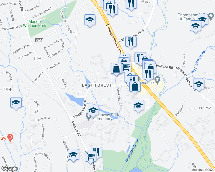 map of restaurants, bars, coffee shops, grocery stores, and more near 2140 Village Lake Drive in Charlotte