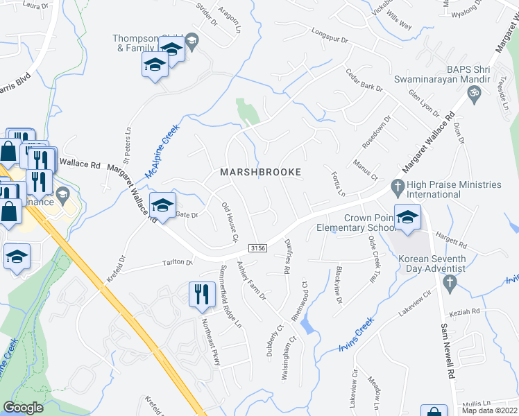 map of restaurants, bars, coffee shops, grocery stores, and more near 3111 Ashwell Oaks Lane in Matthews