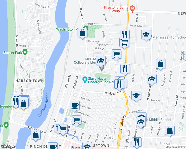map of restaurants, bars, coffee shops, grocery stores, and more near 878 North 3rd Street in Memphis