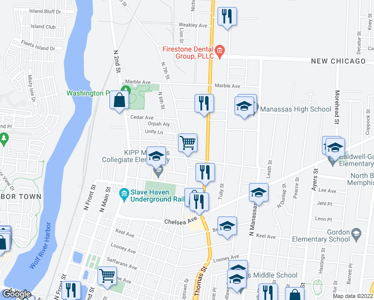 map of restaurants, bars, coffee shops, grocery stores, and more near 980 North 7th Street in Memphis