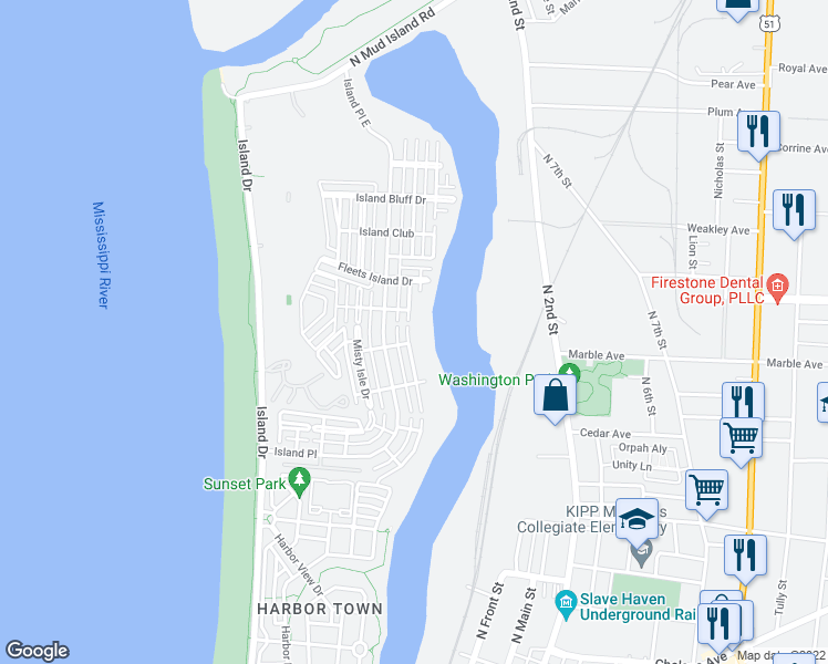map of restaurants, bars, coffee shops, grocery stores, and more near 1228 Harbor River Drive in Memphis