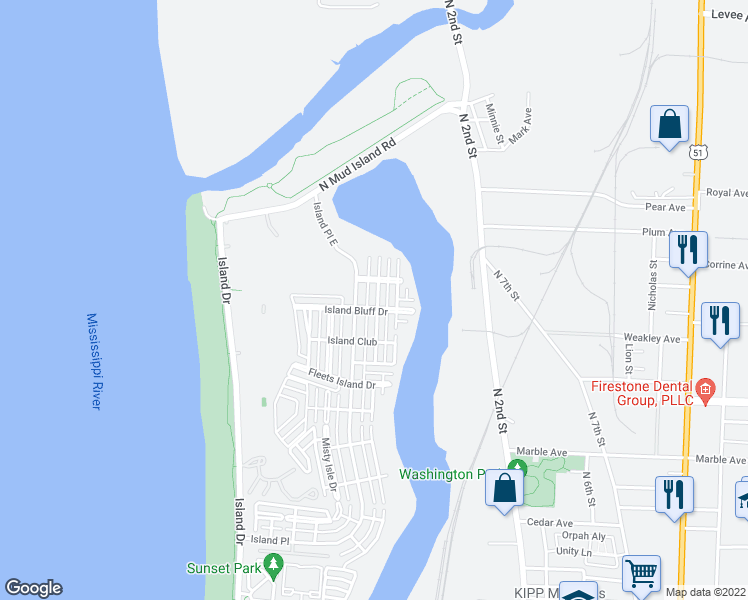 map of restaurants, bars, coffee shops, grocery stores, and more near 1421 Island Town Cove in Memphis