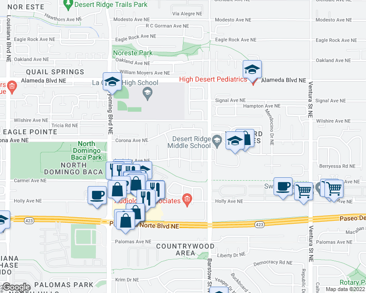 map of restaurants, bars, coffee shops, grocery stores, and more near 8417 Wilson Hurley Place Northeast in Albuquerque