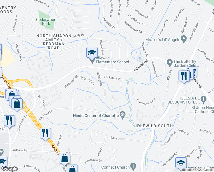 map of restaurants, bars, coffee shops, grocery stores, and more near 5800 Country Walk Drive in Charlotte