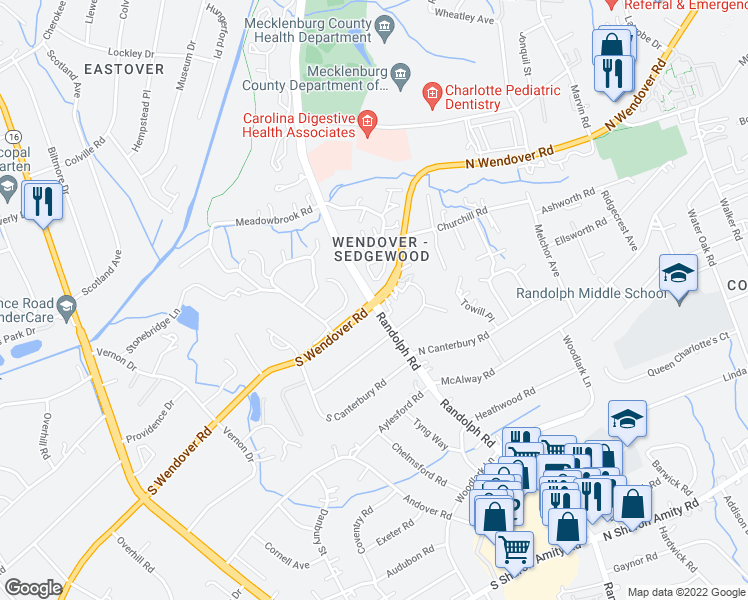 map of restaurants, bars, coffee shops, grocery stores, and more near Randolph Rd & N Wendover Rd in Charlotte