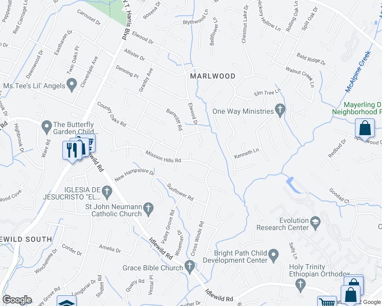 map of restaurants, bars, coffee shops, grocery stores, and more near Teaberry Ct in Charlotte