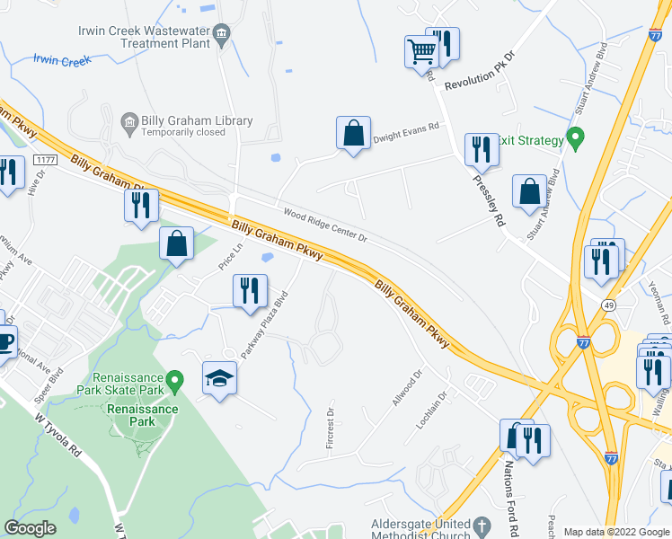 map of restaurants, bars, coffee shops, grocery stores, and more near Yorkmont Rd & Courtney Ridge Ln in Charlotte