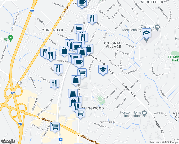 map of restaurants, bars, coffee shops, grocery stores, and more near 3915-3931 Conway Avenue in Charlotte