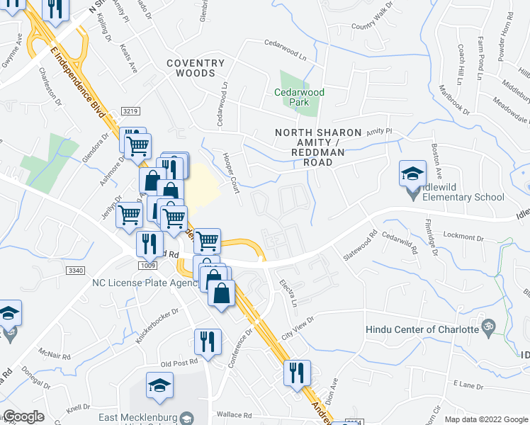 map of restaurants, bars, coffee shops, grocery stores, and more near 5716 Cedars East Court in Charlotte