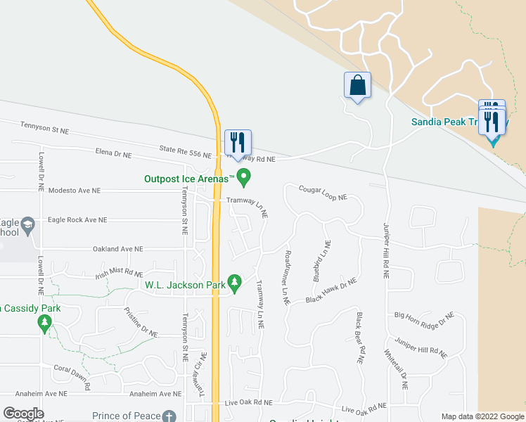 map of restaurants, bars, coffee shops, grocery stores, and more near 726 Tramway Vista Loop Northeast in Albuquerque