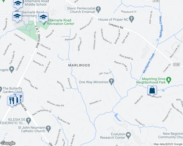 map of restaurants, bars, coffee shops, grocery stores, and more near 7424 Walnut Wood Drive in Charlotte