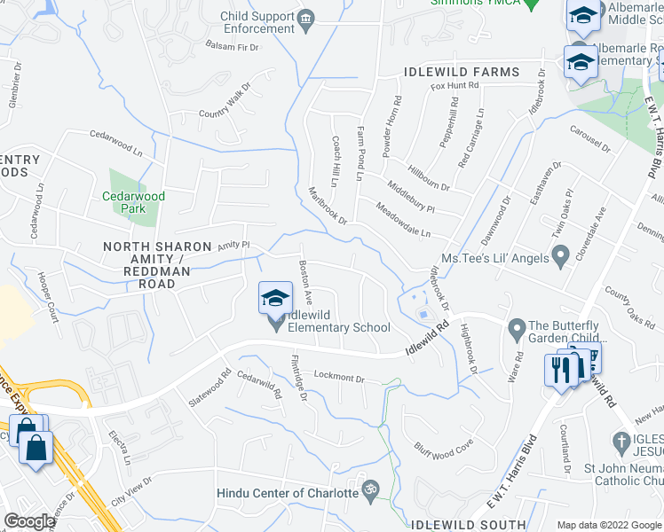map of restaurants, bars, coffee shops, grocery stores, and more near 6209 Springfield Drive in Charlotte