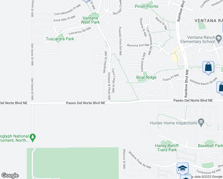map of restaurants, bars, coffee shops, grocery stores, and more near 9519 Cerro Largo Place Northwest in Albuquerque