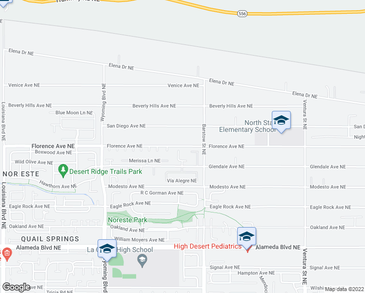 map of restaurants, bars, coffee shops, grocery stores, and more near 8190-8398 Florence Avenue Northeast in Albuquerque