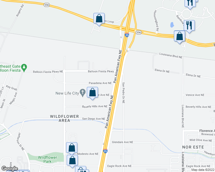 map of restaurants, bars, coffee shops, grocery stores, and more near 5700 Pasadena Ave NE in Albuquerque