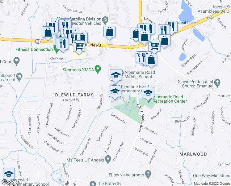 map of restaurants, bars, coffee shops, grocery stores, and more near 7800 Riding Trail Road in Charlotte