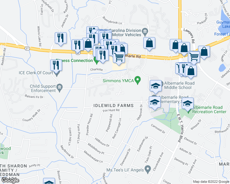 map of restaurants, bars, coffee shops, grocery stores, and more near 6405 Yateswood Dr in Charlotte