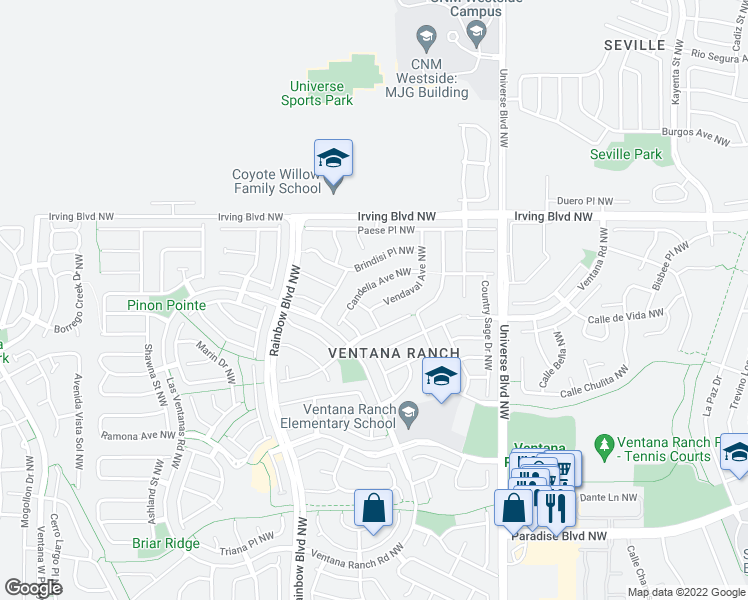 map of restaurants, bars, coffee shops, grocery stores, and more near 10305 Vendaval Avenue Northwest in Albuquerque