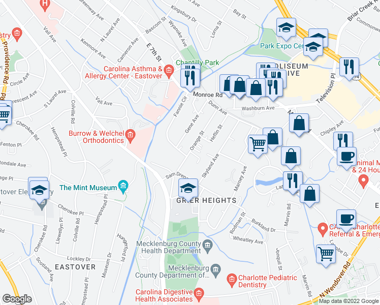 map of restaurants, bars, coffee shops, grocery stores, and more near 218 Orange Street in Charlotte