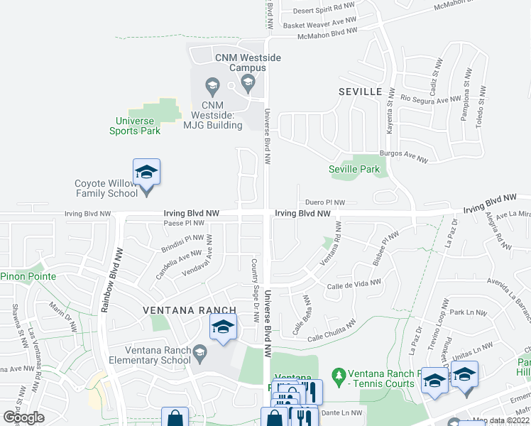 map of restaurants, bars, coffee shops, grocery stores, and more near Irving Blvd NW & Universe Blvd NW in Albuquerque