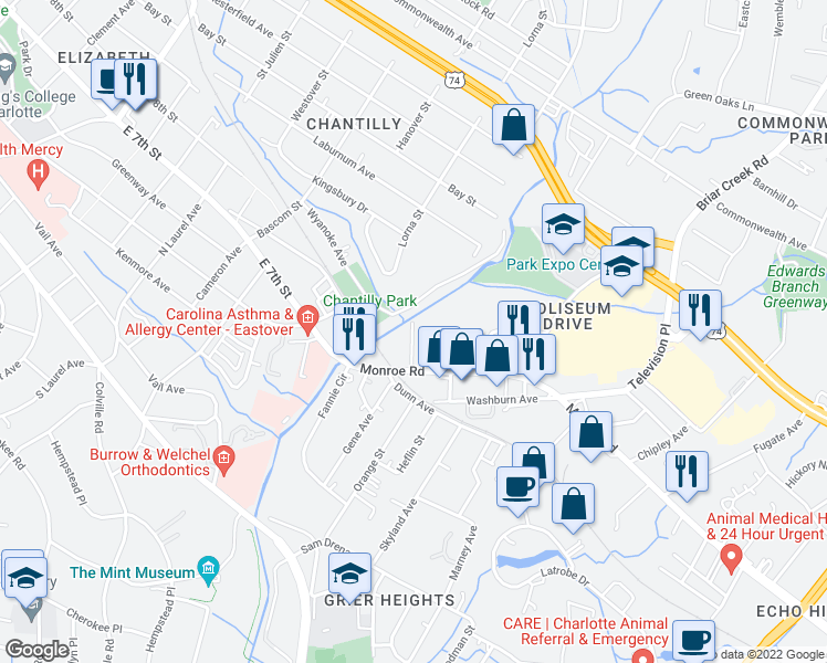 map of restaurants, bars, coffee shops, grocery stores, and more near 513-573 Bramlet Road in Charlotte