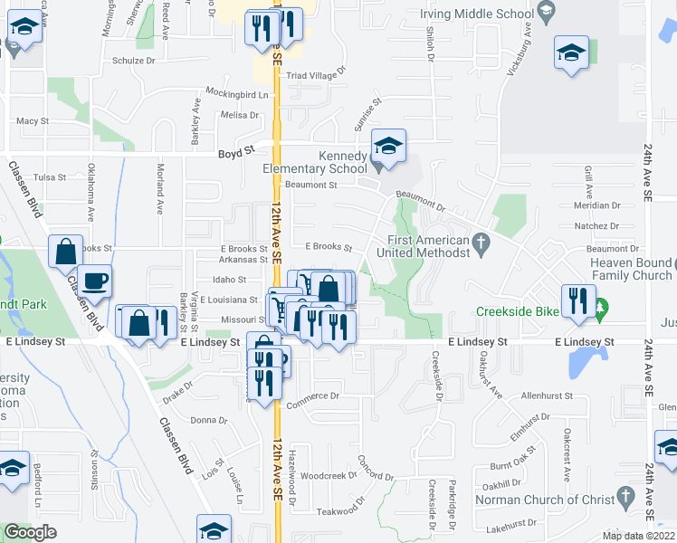 map of restaurants, bars, coffee shops, grocery stores, and more near 1010 Biloxi Drive in Norman