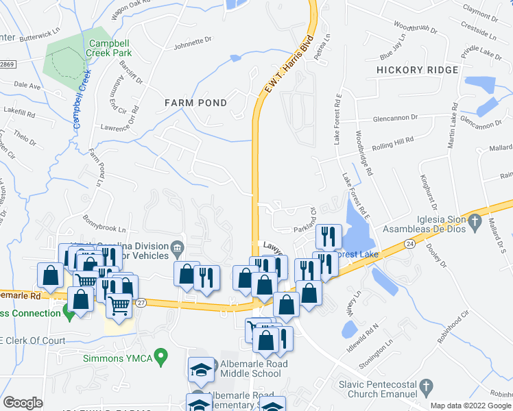 map of restaurants, bars, coffee shops, grocery stores, and more near E W T Harris Blvd & Harris Park Dr in Charlotte