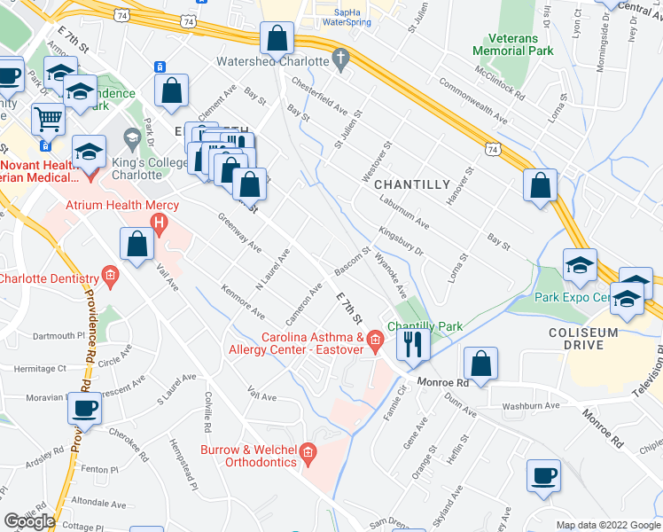 map of restaurants, bars, coffee shops, grocery stores, and more near 418 Ranier Ave in Charlotte