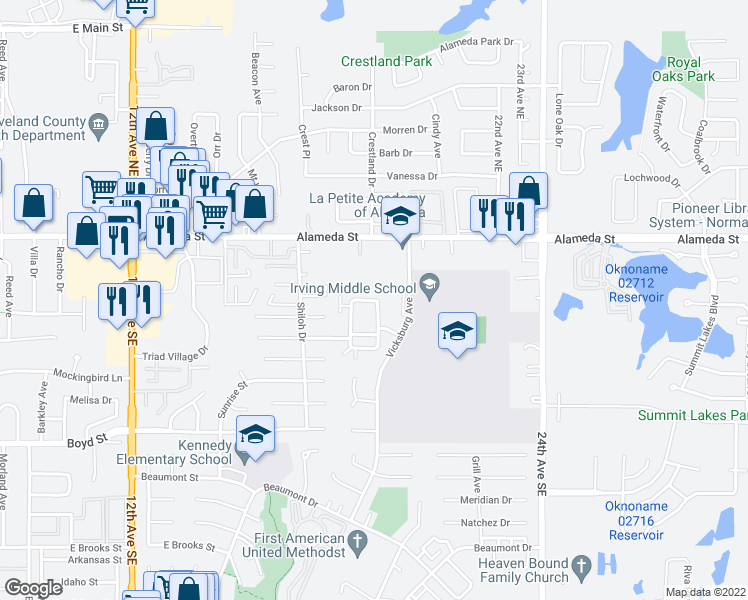 map of restaurants, bars, coffee shops, grocery stores, and more near 225 Bull Run St in Norman